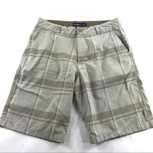 Oneill Flat Front Chino Plaid Shorts Beige 32